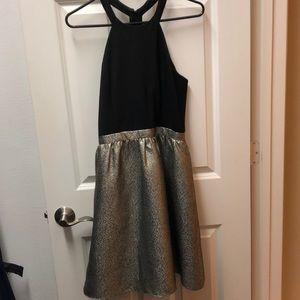 Aidan Mattox Black and Gold Halter Dress